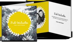 Weihnachtskarte Quadrat Falz gelb